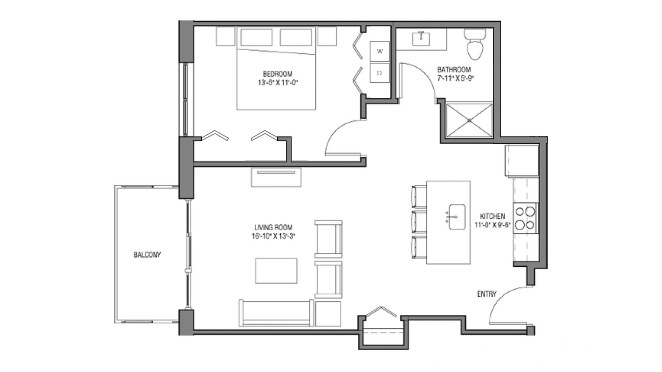 ULI One Bedroom Accessible Floorplan