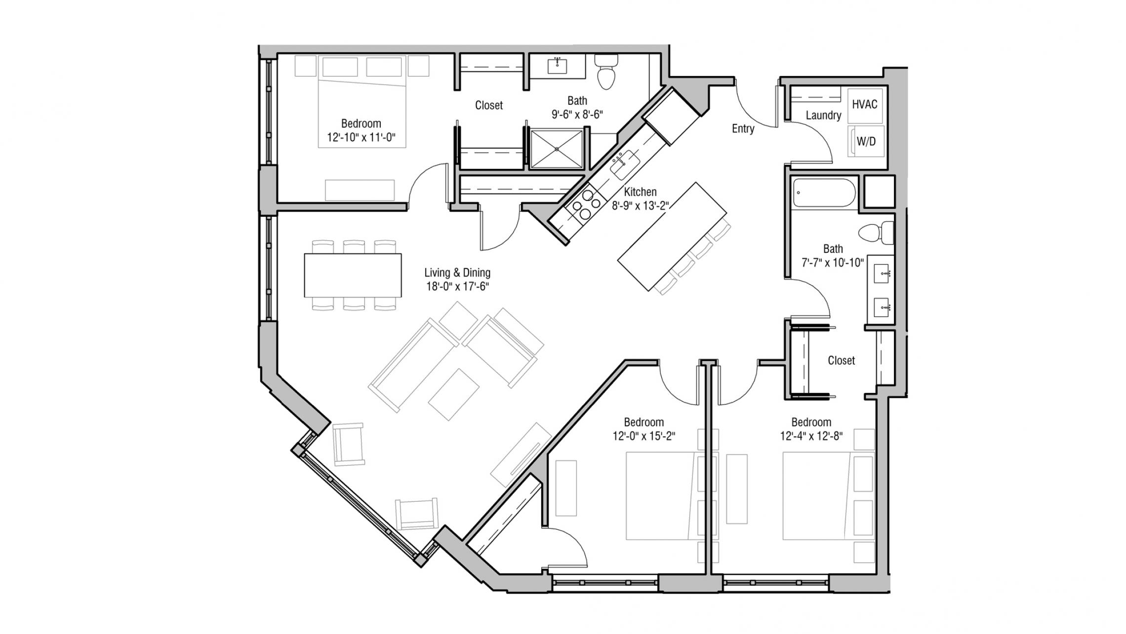 ULI 1722 Monroe 319 - Three Bedroom, Two Bathroom