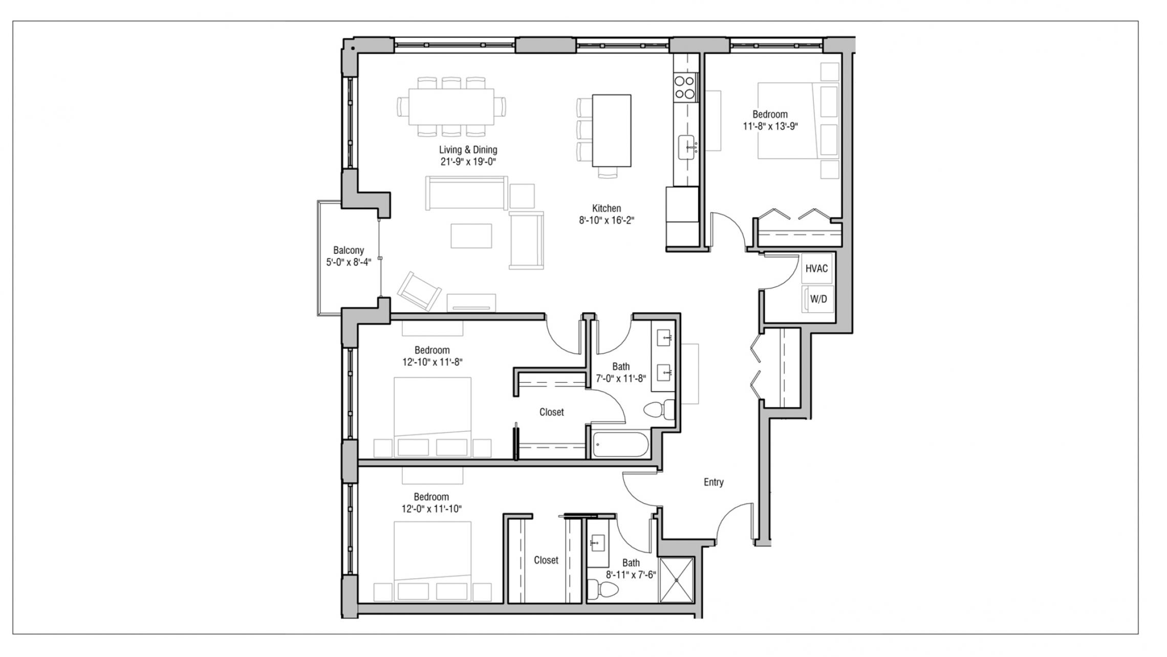 ULI 1722 Monroe 320 - Three Bedroom, Two Bathroom