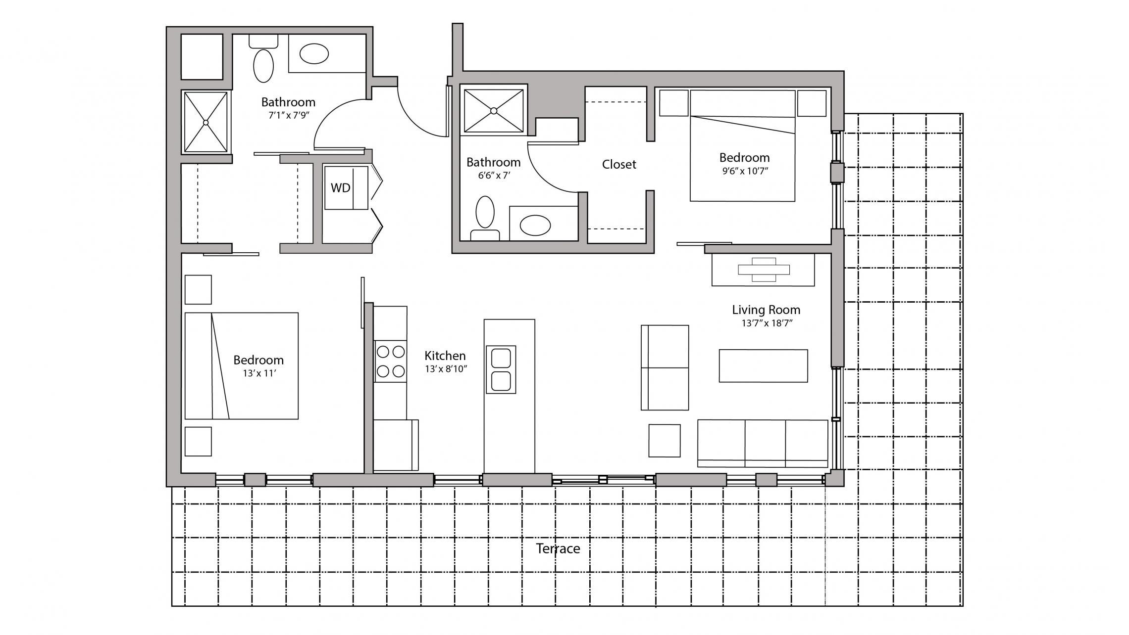 ULI Capitol Hill 501 - Two Bedroom, Two Bathroom Floorplan