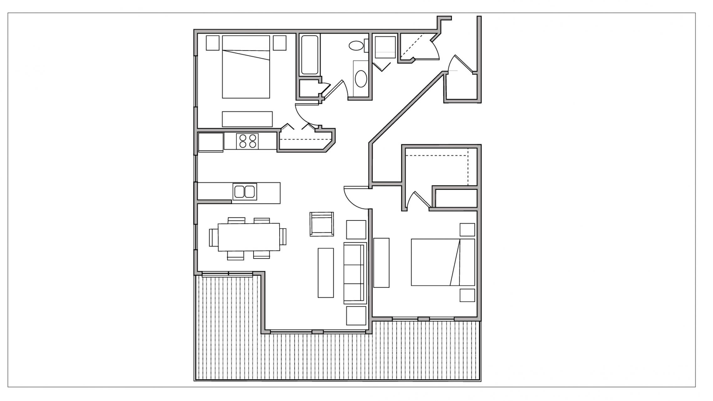 ULI City Place 107 - Two Bedroom, One Bathroom