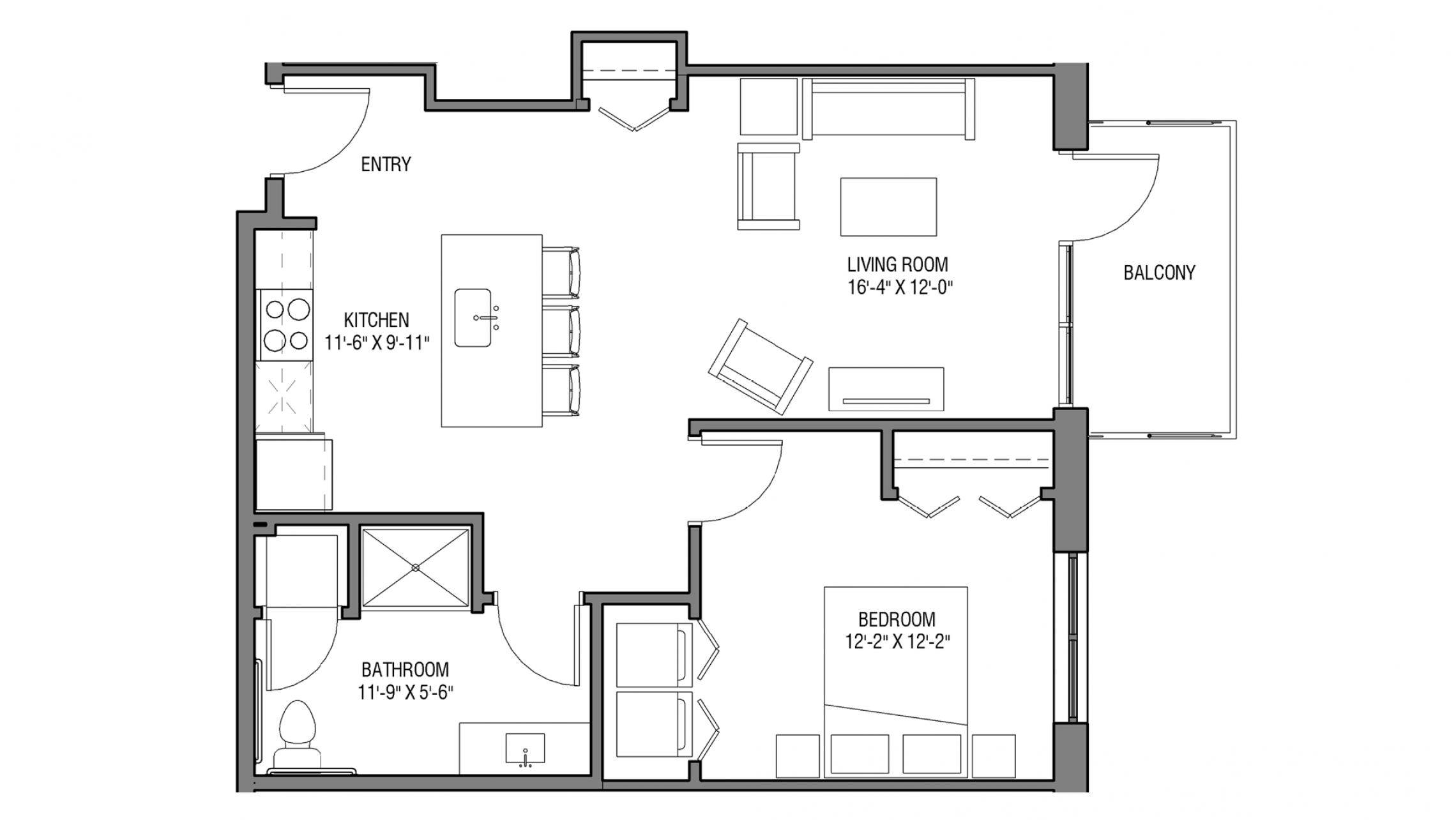 ULI Nine Line 222 - One Bedroom, One Bathroom