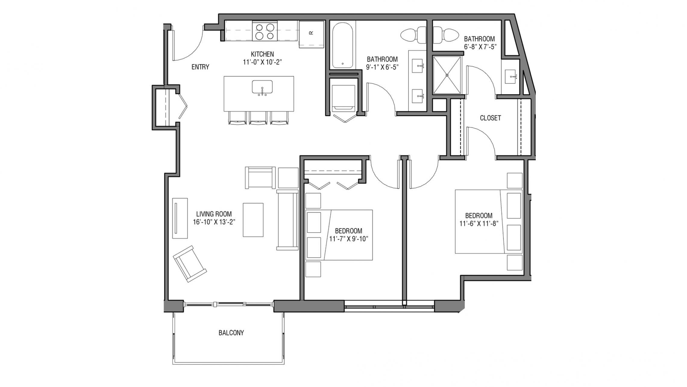 ULI Nine Line 415 - Two Bedroom, Two Bathroom