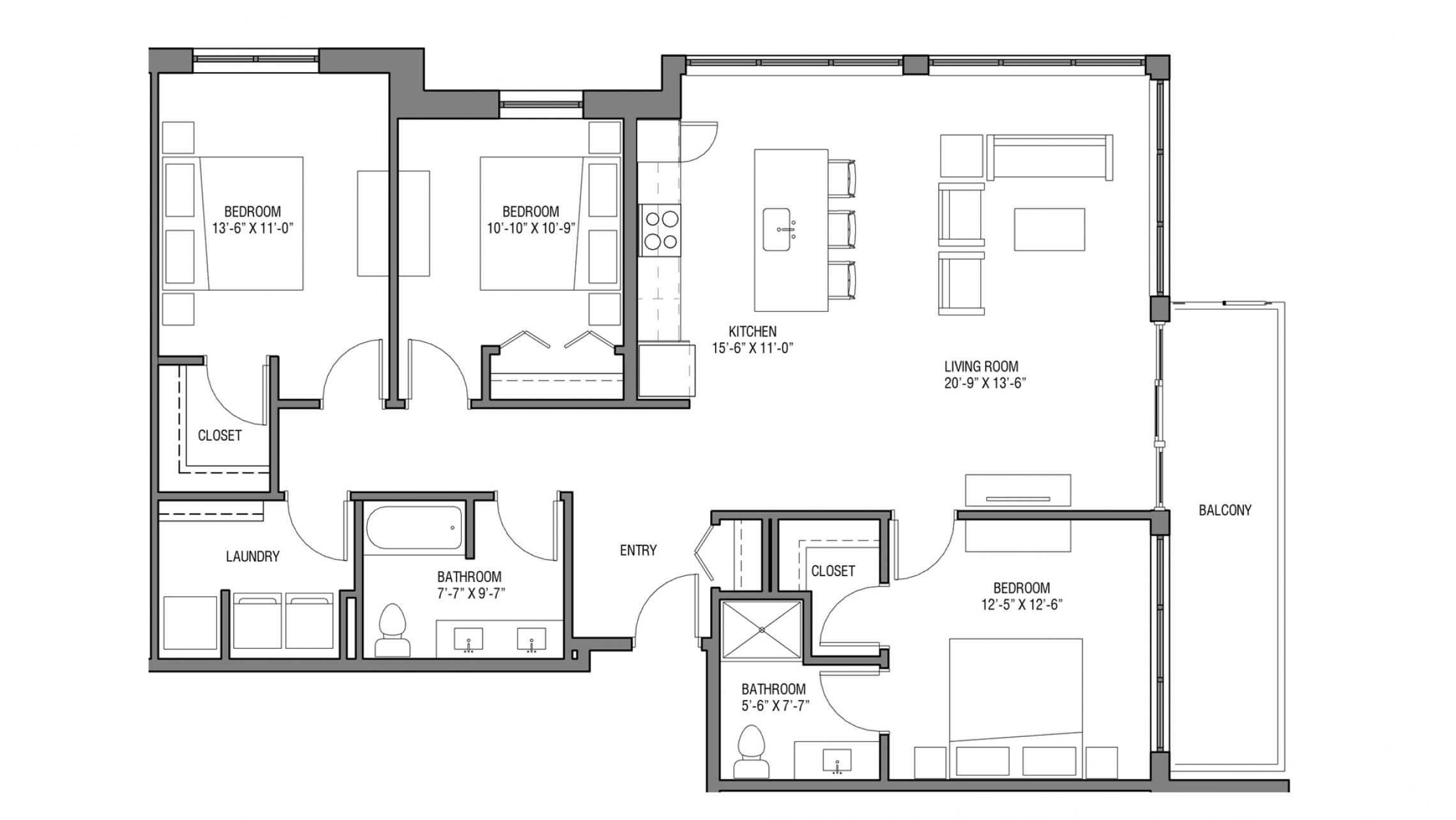 ULI Nine Line 425 - Three Bedroom, Two Bathroom
