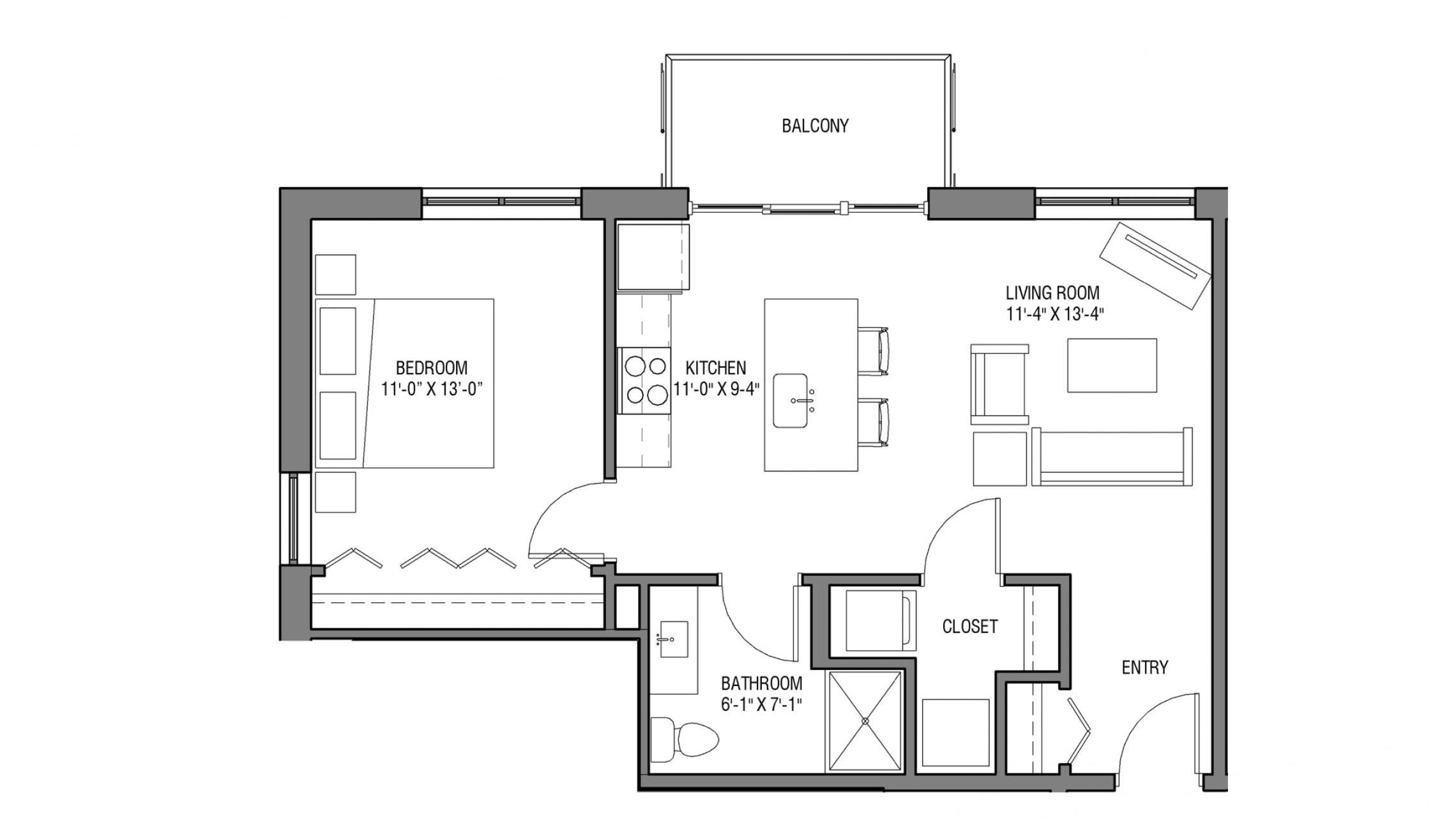 ULI Nine Line 501 - One Bedroom, One Bathroom