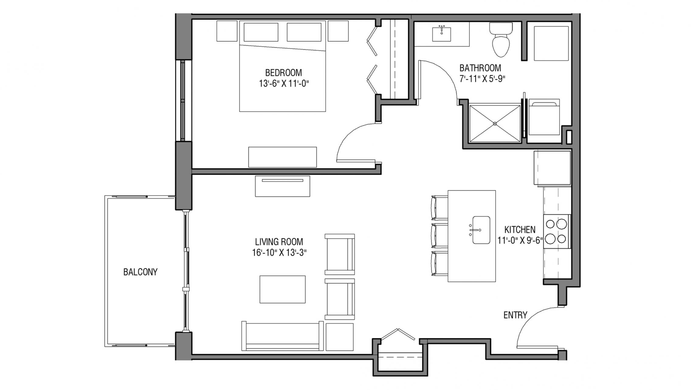 ULI Nine Line 516 - One Bedroom, One Bathroom