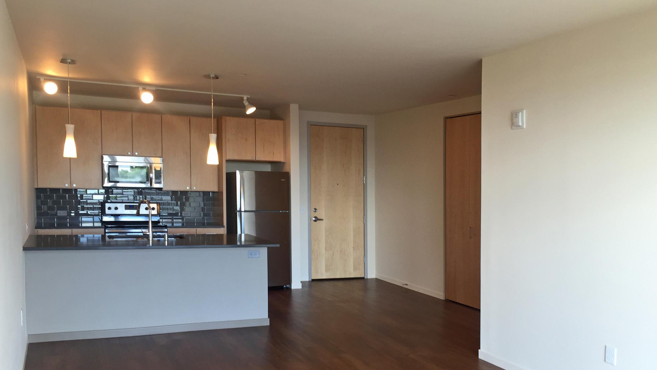 ULI Nine Line Apartment 423 - Kitchen and Living Area