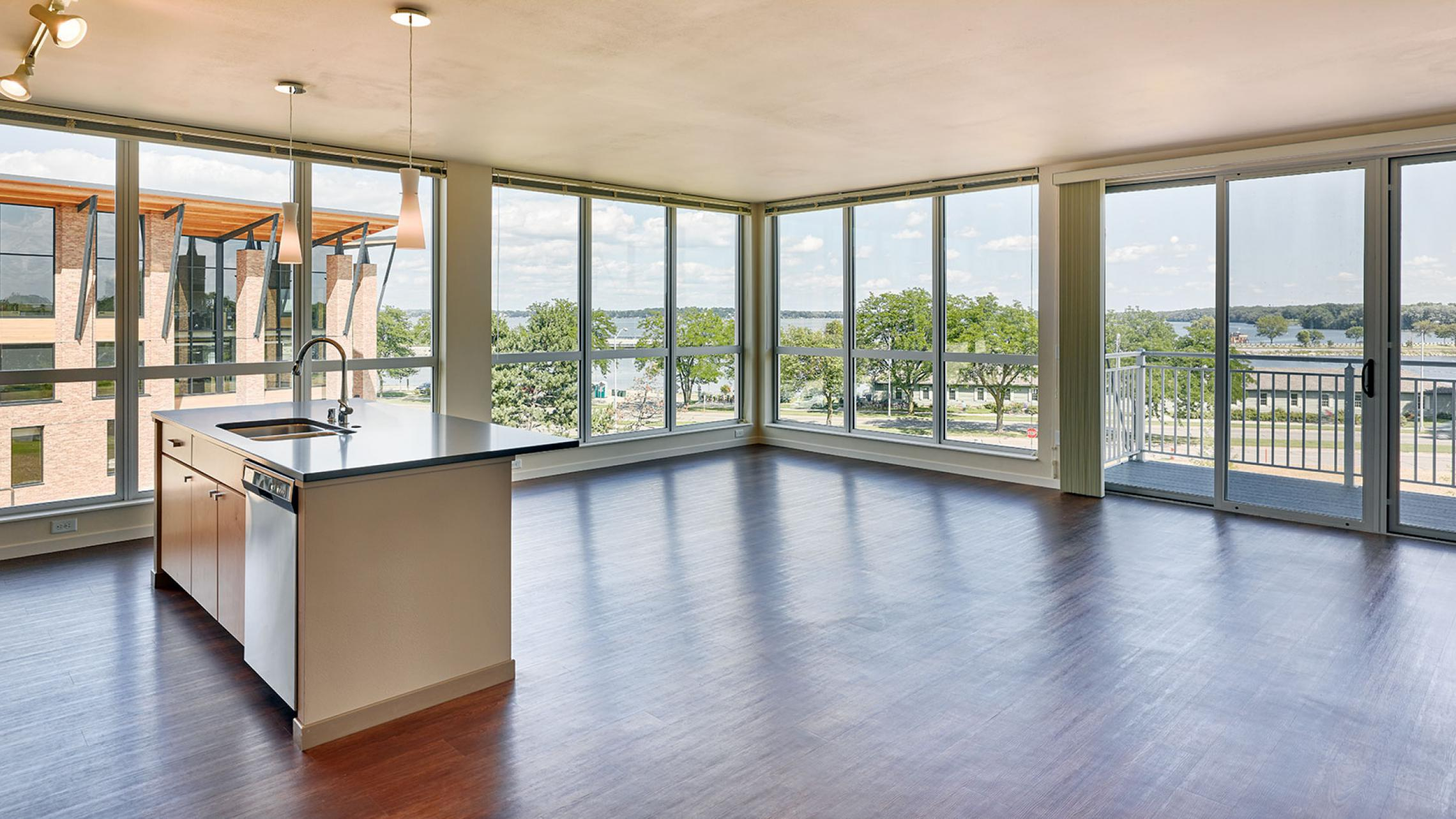 ULI Nine Line Apartments - Living Area with Lake Monona View