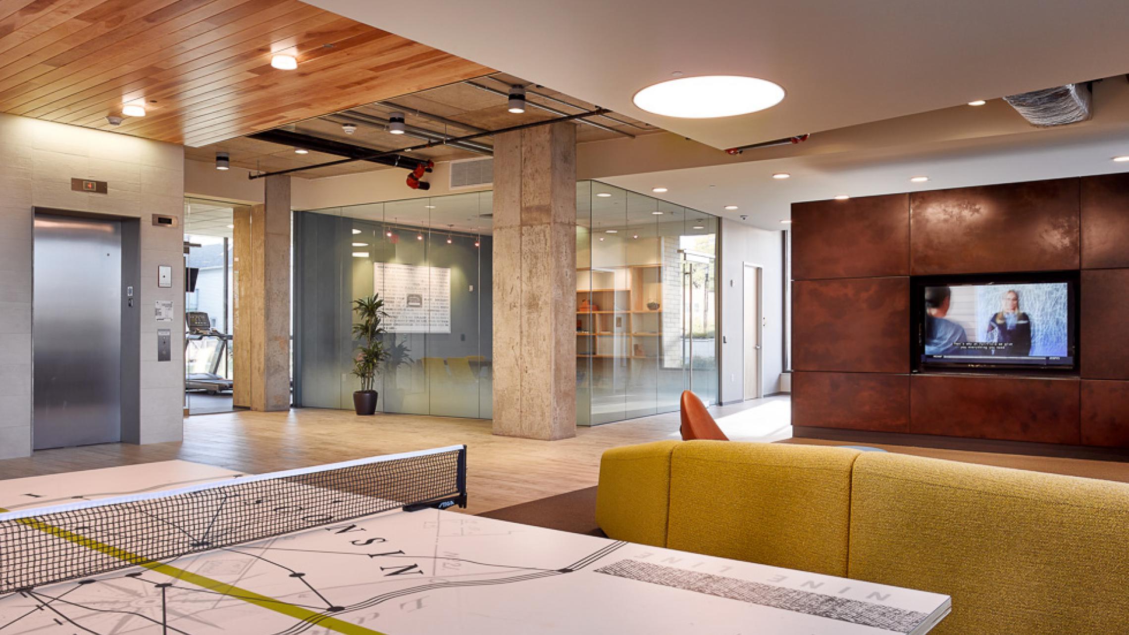 ULI Nine Line Apartments - Lobby Custom Ping Pong Table