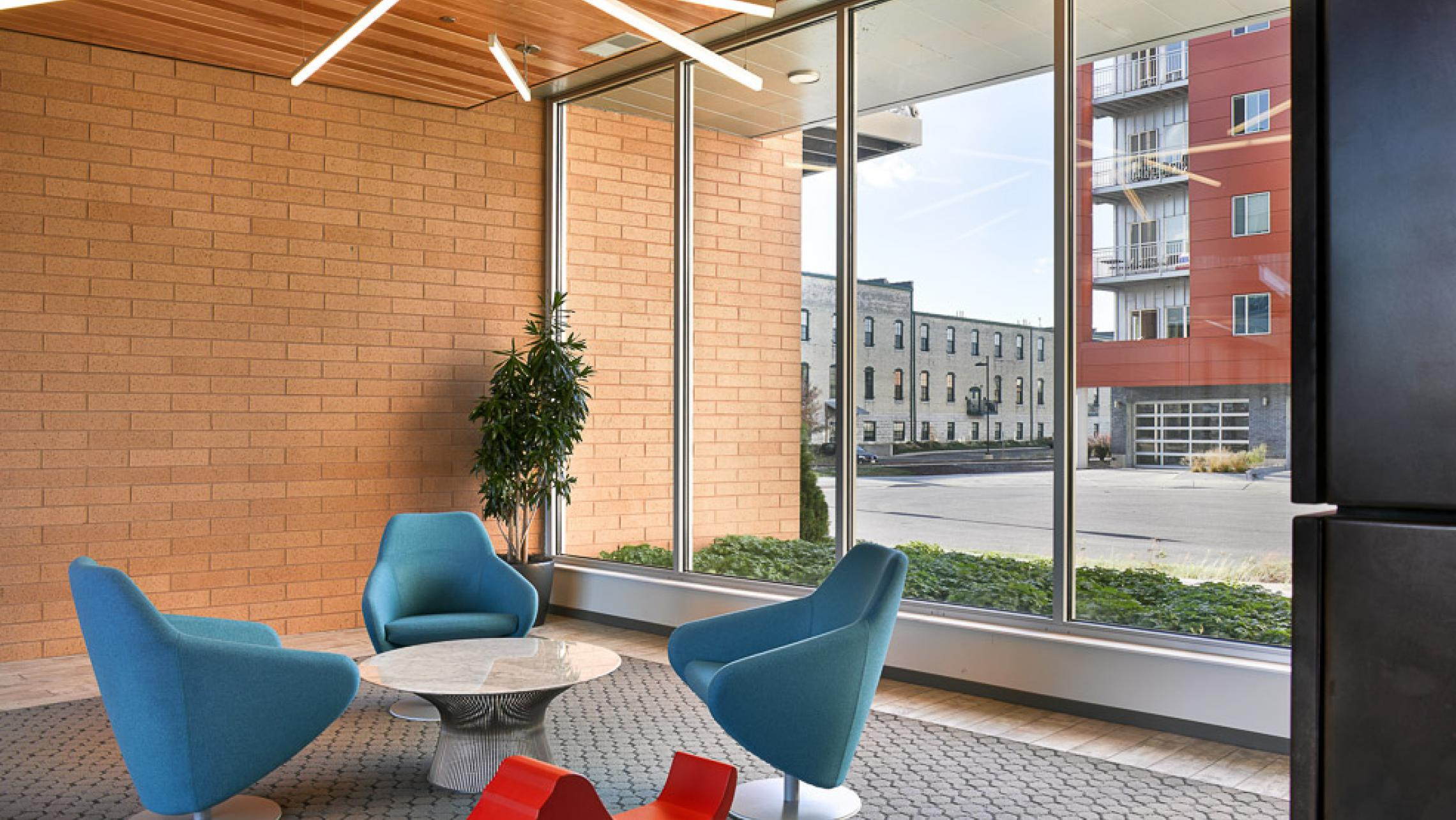 ULI Nine Line Apartments - Seating with Lighting Inspired by Nine Lines