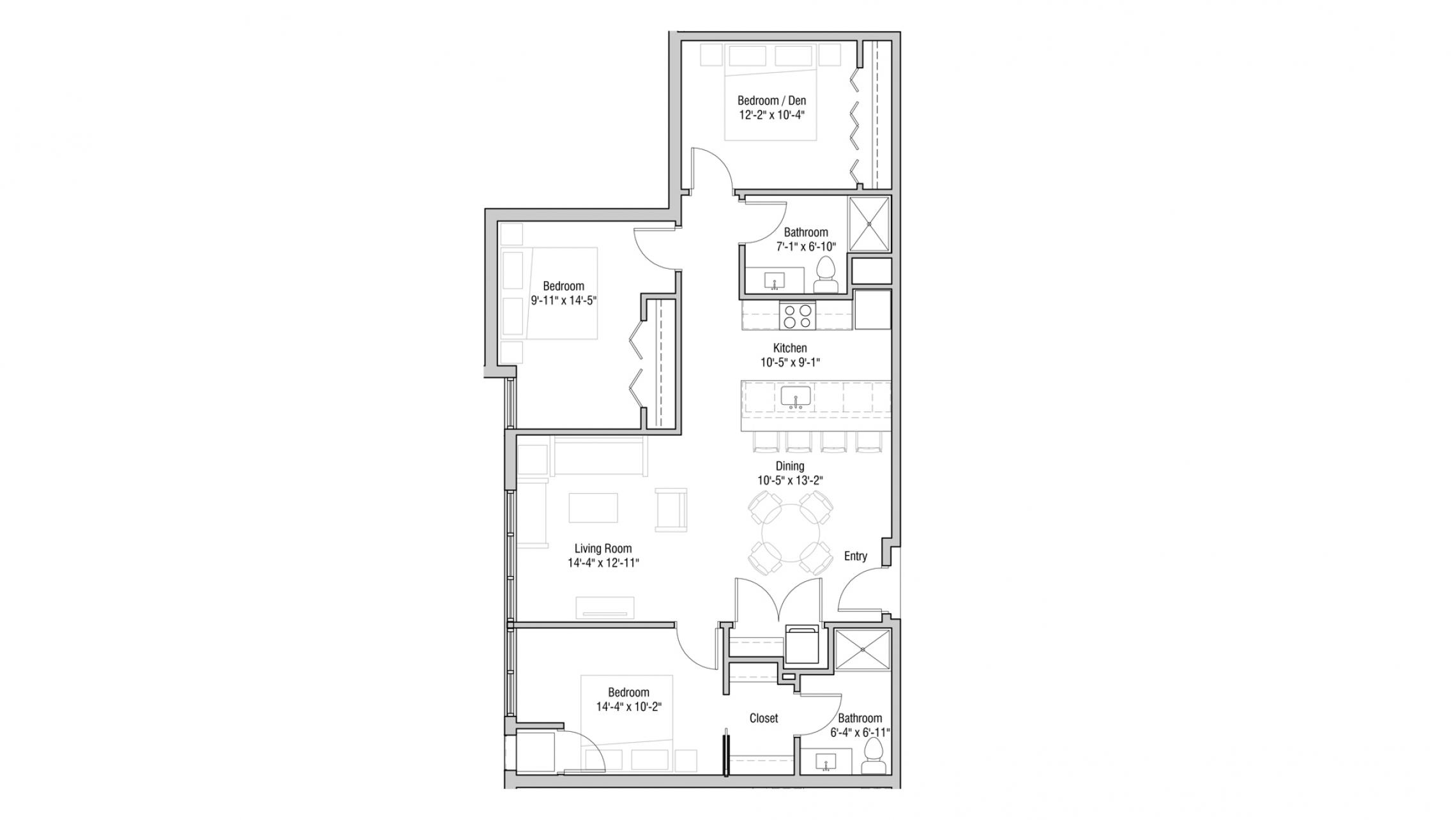 ULI Quarter Row 210 - Two Bedroom, Two Bathroom