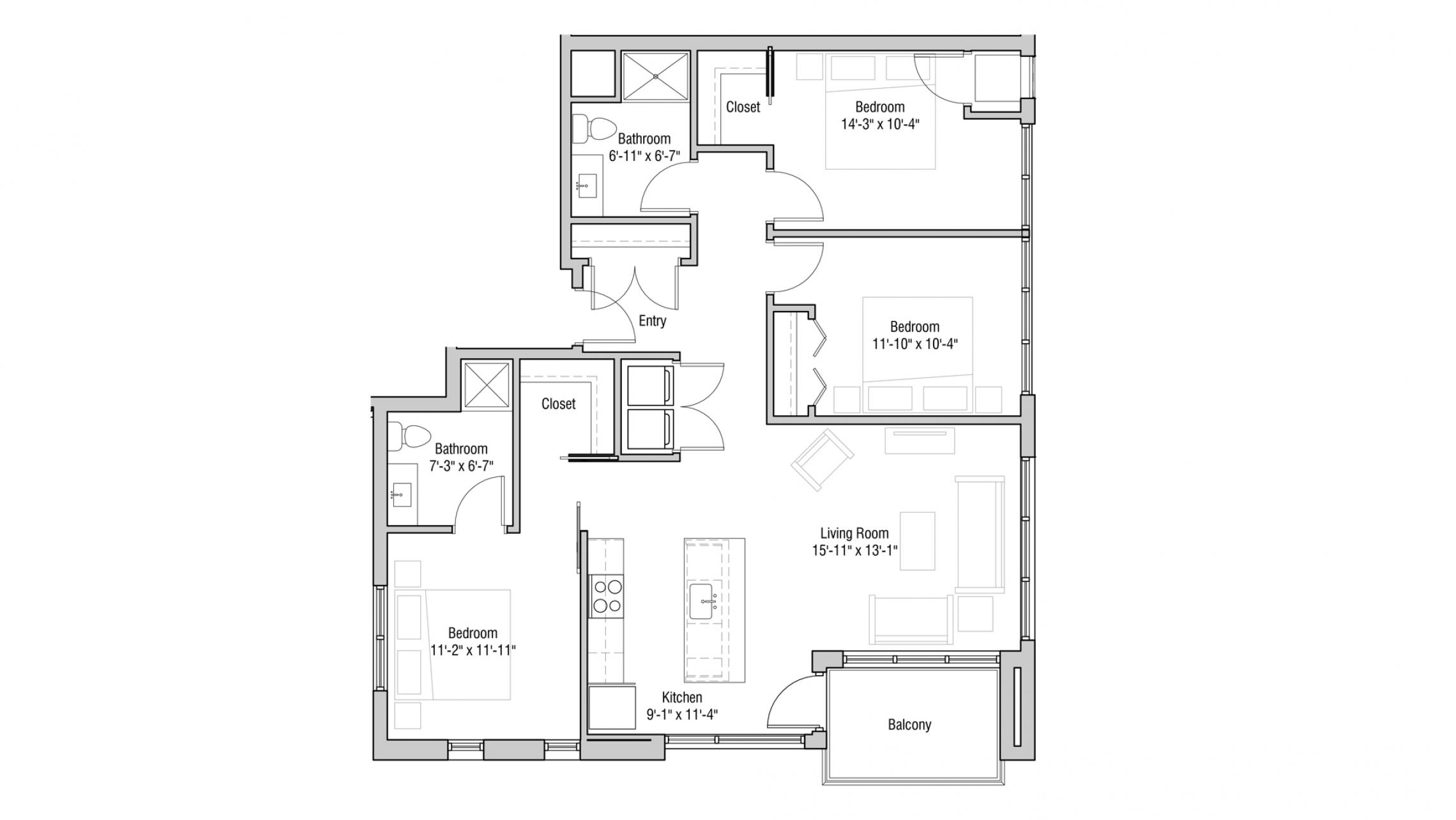 ULI Quarter Row 301 - Three Bedroom, Two Bathroom