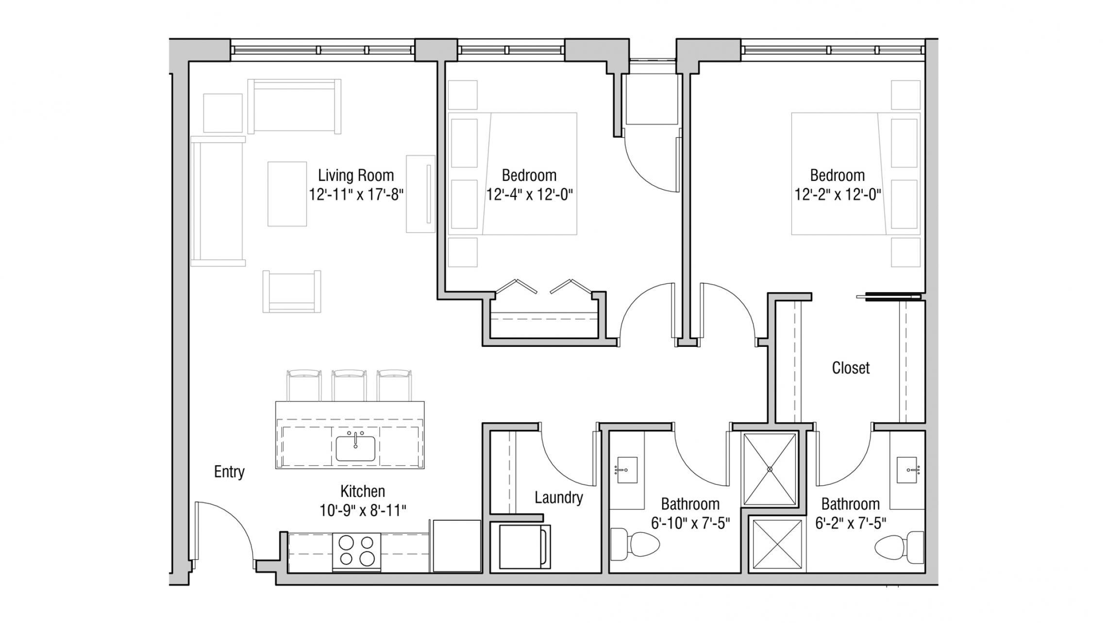 ULI Quarter Row 317 - Two Bedroom, Two Bathroom