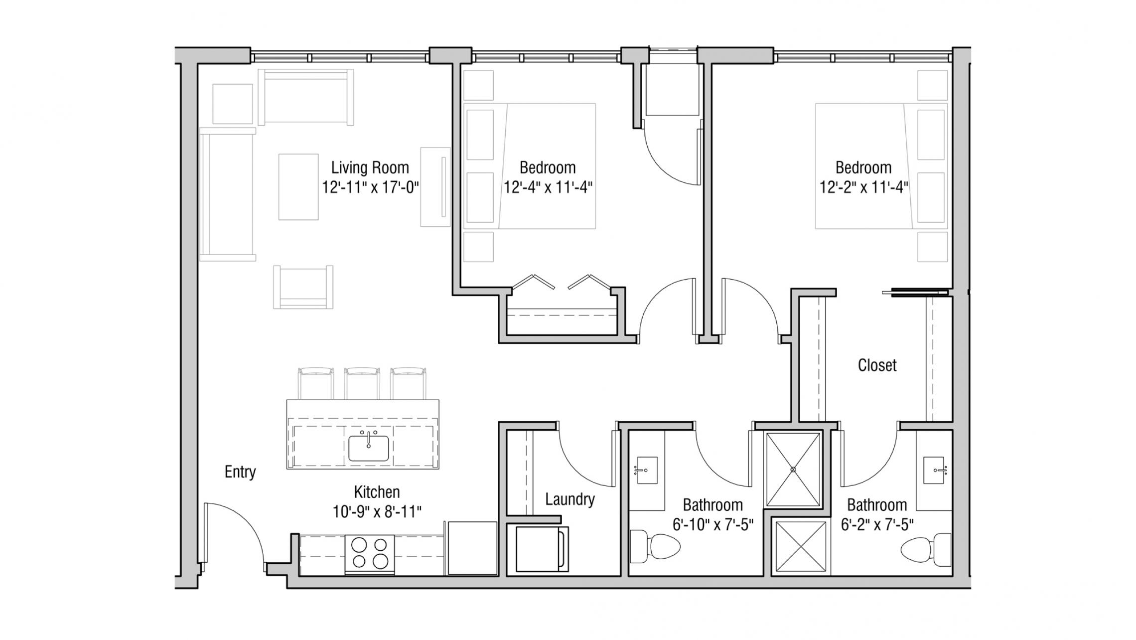 ULI Quarter Row 417 - Two Bedroom, Two Bathroom