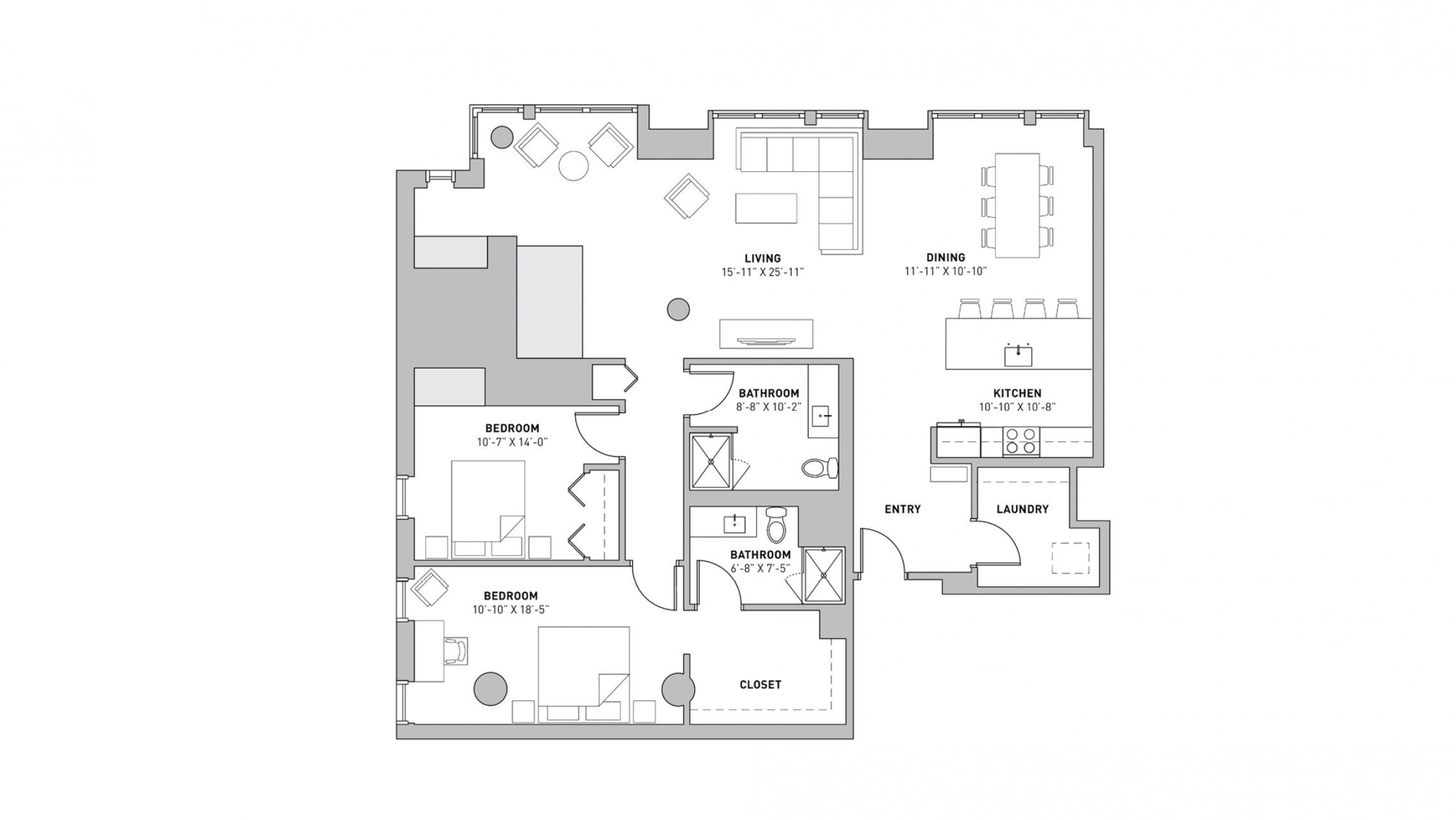 ULI The Pressman 201 - Two Bedroom, Two Bathroom