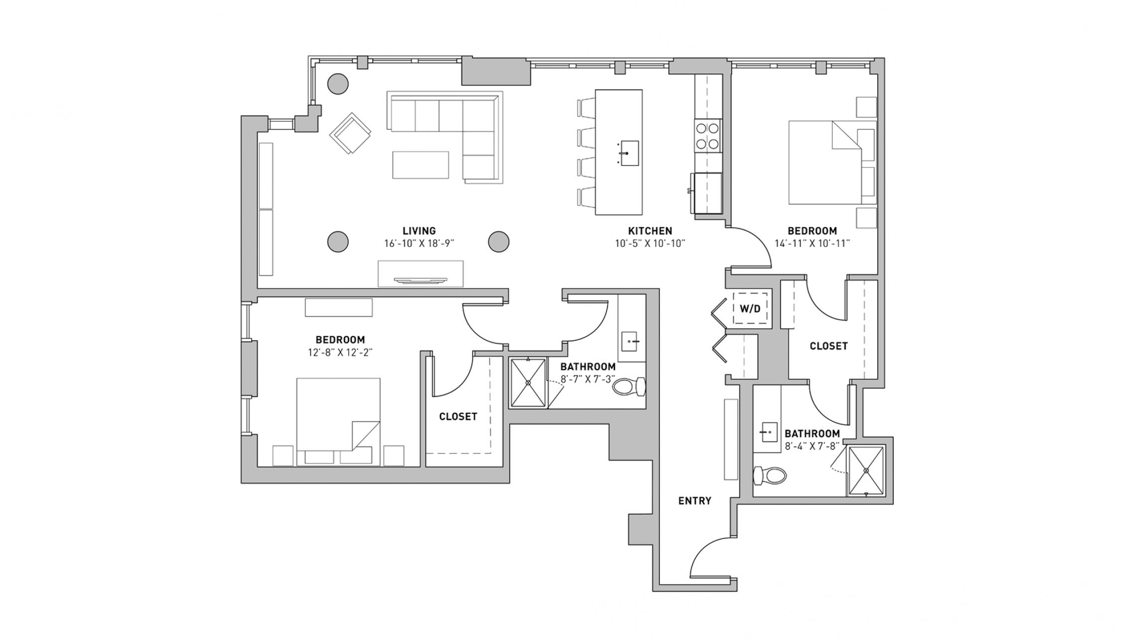 ULI The Pressman 501 - Two Bedroom, Two Bathroom