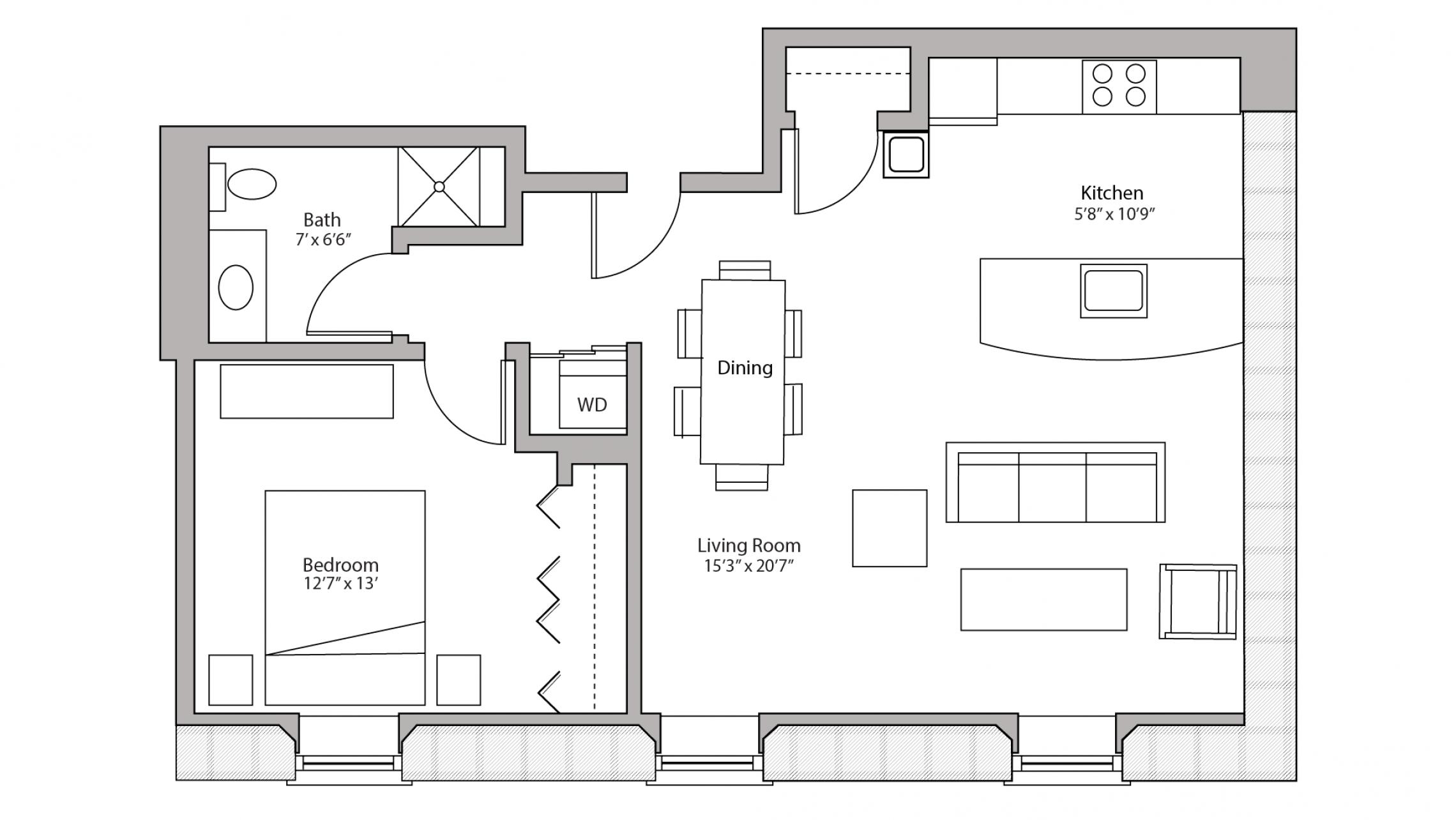 ULI Tobacco Lofts E308 - One Bedroom, One Bathroom