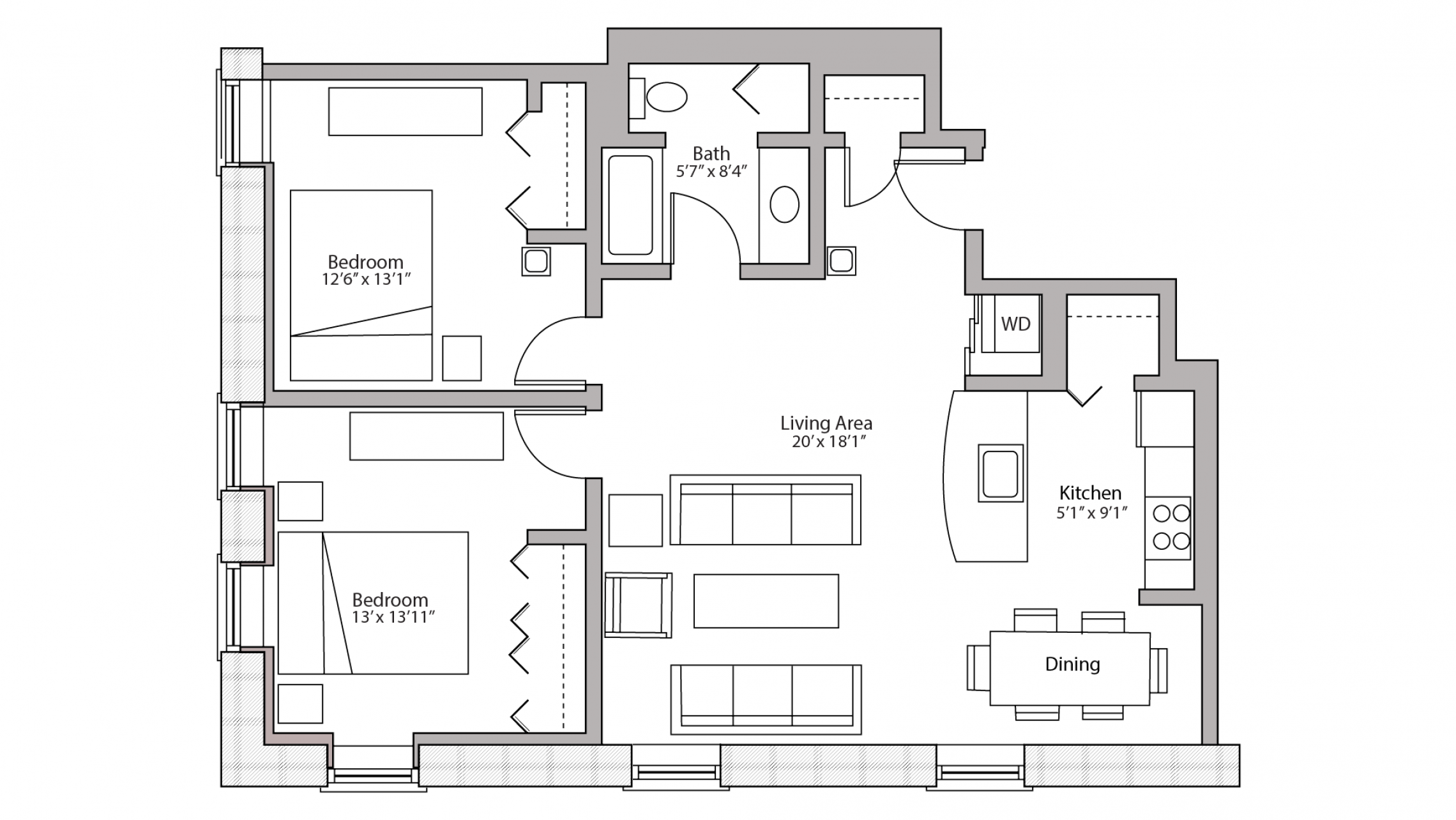 ULI Tobacco Lofts E312 - Two Bedroom, Two Bathroom