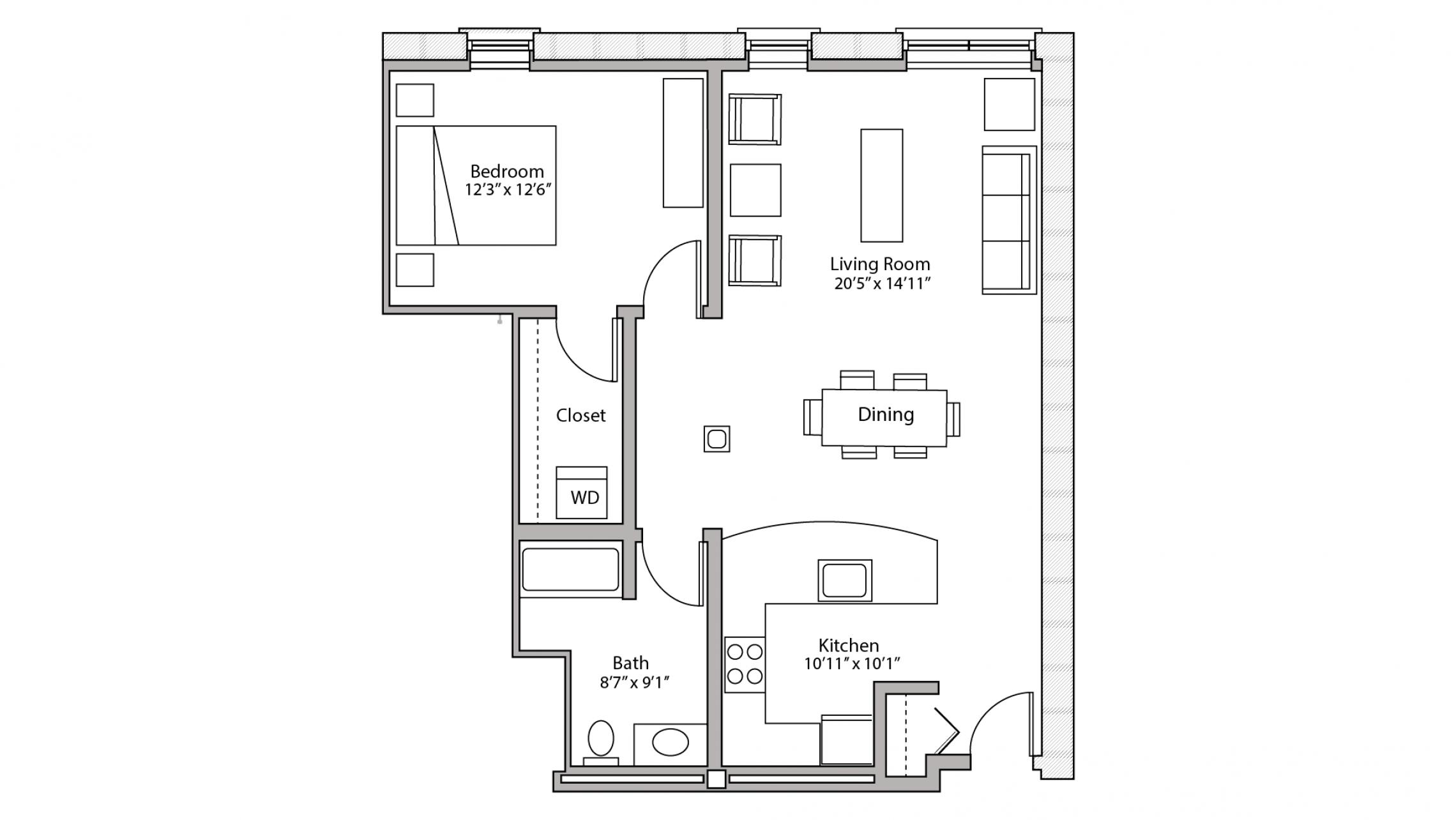ULI Tobacco Lofts W209 - One Bedroom, One Bathroom