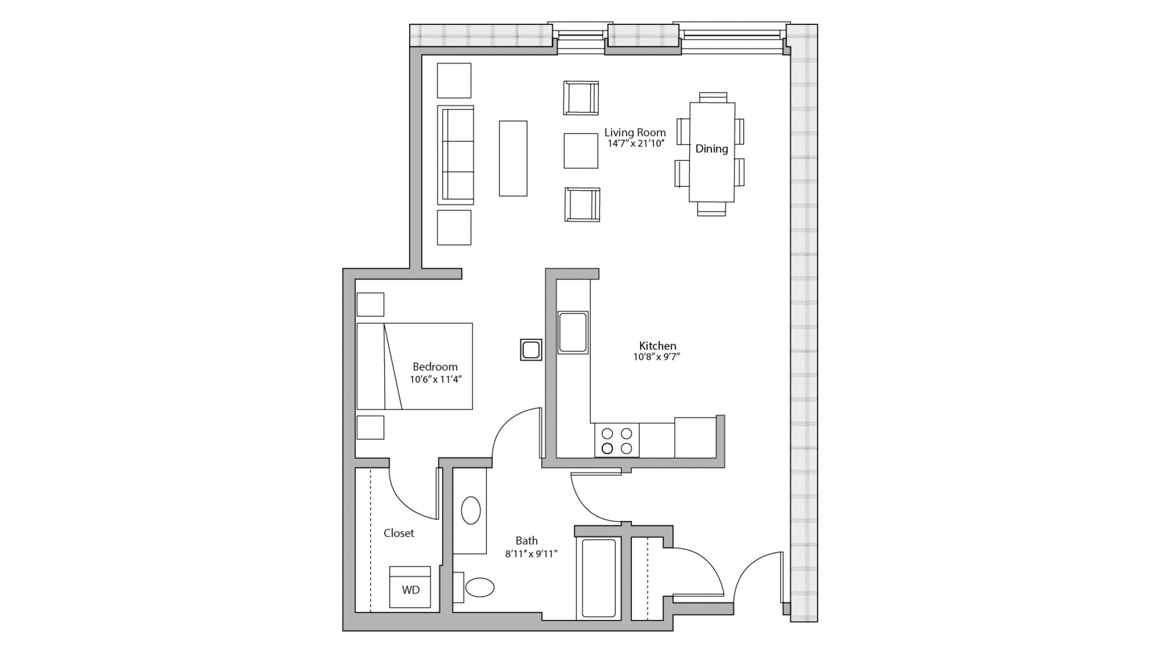 ULI Tobacco Lofts W213 - Studio, One Bathroom