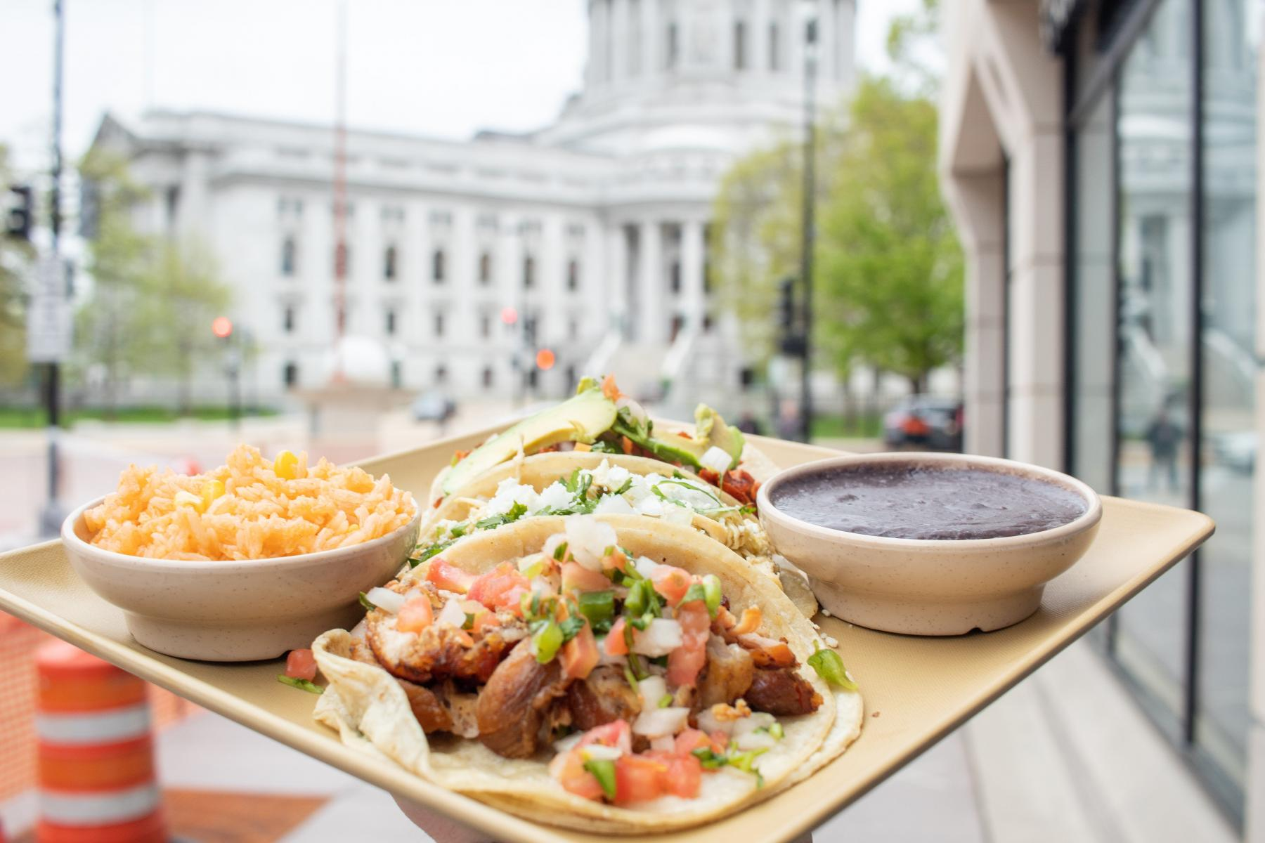 BelAir Cantina Tacos in front of the Wisconsin State Capitol