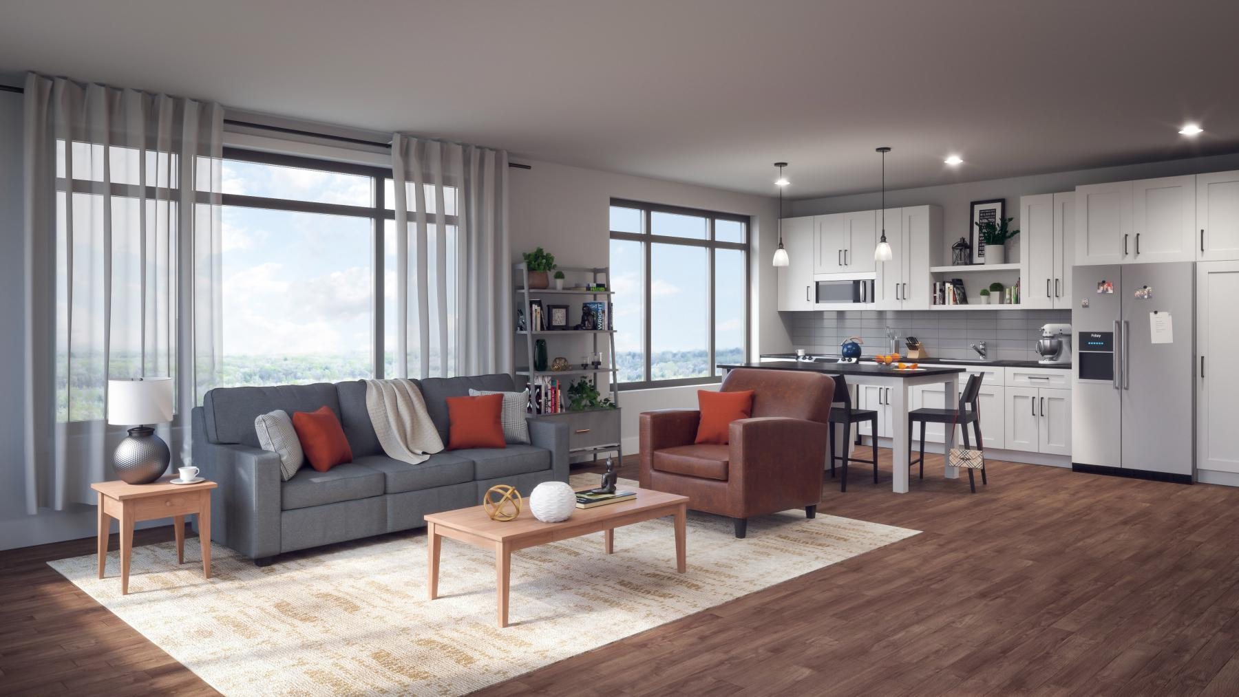 ULI 1722 Monroe Apartments Kitchen and Living Room Rendering